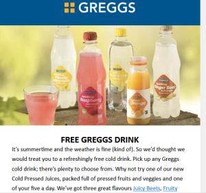 free greggs drink